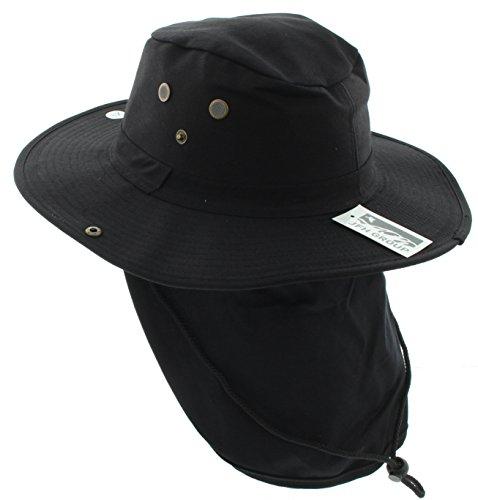 JFH GROUP Wide Brim Unisex Safari/Outback Summer Hat w/Neck Flap (Extra Large, Black Solid)