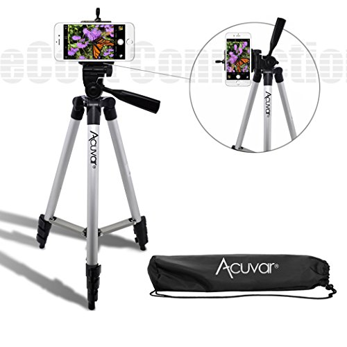 Acuvar 50' Inch Aluminum Camera Tripod and Universal Smartphone Mount