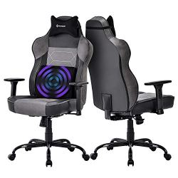 Big and Tall Massage Gaming Chair – Memory Foam Lumbar Cushion and Headrest, Adjustable Arms and Backrest High Back PC Racing Office Computer Desk Ergonomic Swivel Task Chair, Gray/Black