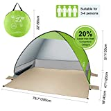 G4Free Outdoor Automatic Pop up Instant Portable Cabana Beach Tent 2-3 Person Fishing Anti UV Beach Tent Beach Shelter (Green)