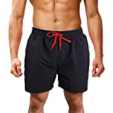 Goddessvan Mens Swimwear Swim Trunks Beach Board Shorts Swimming Pocket Short Pants Slim Fit Swimsuits Shorts Black