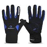 INBIKE Men's Winter Cold Weather Thermal Windproof Gel Bike Gloves Blue Large