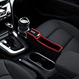 KMMOTORS Coin Side Pocket Red Console Side Organizer Crevice Filler Console Side Organizer Multi-Functional Storage (Red. Passenger. with Cupholder)