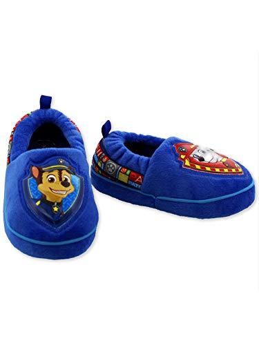 Paw Patrol Chase Marshall Toddler Boys Plush Aline Slippers (9-10 M US Toddler, Blue/Red)