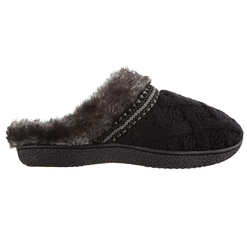 712DqepTgCL PREMIUM: Slip on house slippers for women with low back design STYLE: Soft trellis sweater knit and faux fur delivers timeless style and warmth COMFORT: Cozy 360° Surround Comfort, memory foam slippers wrap the entire foot -tops, sides, and soles - for the ultimate custom fit and built-in arch support
