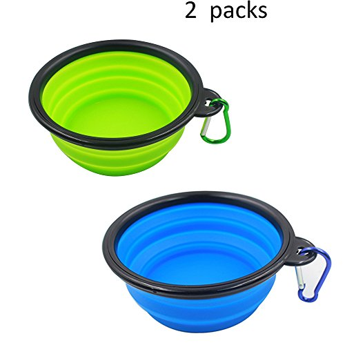 Collapsible Travel Bowl 2 Packs of Dog Bowls, Water Feeder Bowls for Pets Free Carabiner ,Food Grade Silicone Environmental Protection Material (BLUE+GREEN) by Moon River