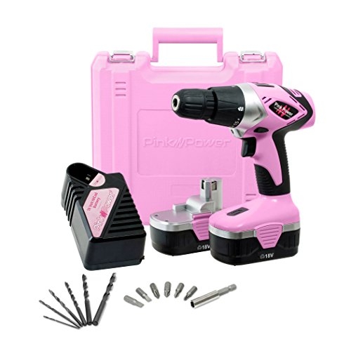Pink Power Drill PP182 18V Cordless Electric Drill Driver Set for Women