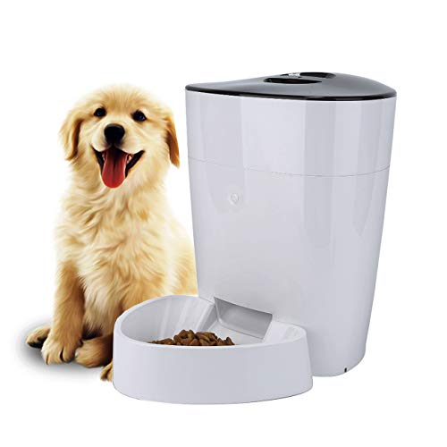 FULLOSUN 4L Automatic Cats and Dogs Pet Feeder Food Dispenser with Distribution Alarms, Portion Control, Programmable Timer for up to 6 Meals per Day Features 1