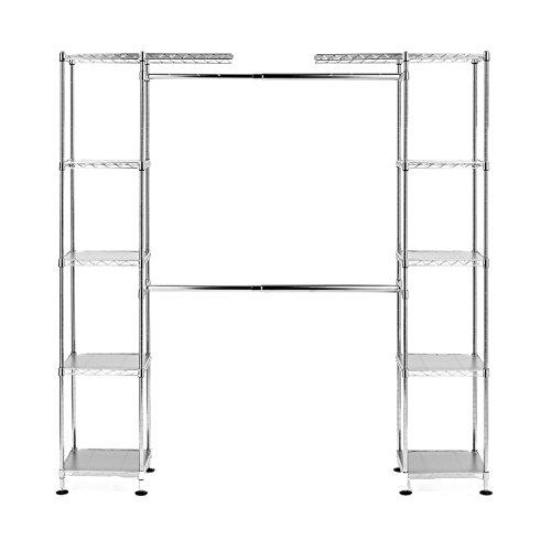 Seville Classics Double-Rod Expandable Clothes Rack Closet Organizer System, 58' to 83' W x 14' D x 72', UltraZinc