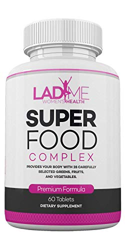 Organic SuperFood Complex for Women- Best Super Greens Supplement with 14 Greens and 14 Fruits and Vegetables- Anti Aging Support Dietary Supplement- Rich in Antioxidants- Non-GMO 60 Tablets by LadyMe