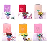 Paper Spiritz Pack of 6 Flower Bouquet Pop up Cards Birthday, 3D Anniversary Thank You Card for Women Wife, Handmade Graduation Sympathy Blank Card, Laser Cut Gift Card with 6 Envelopes all Occasions