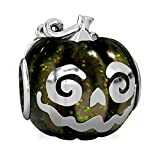 Authentic BELLA FASCINI Halloween Jack O Lantern Pumpkin Bead Charm - Sterling Silver - Fits Bracelets
