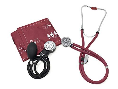 EMI 330 Sprague Rappaport Stethoscope and Aneroid Sphygmomanometer Manual Blood Pressure Set Kit (Burgundy)