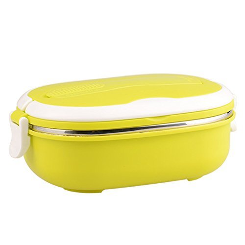 VANVENE Stainless Steel Insulated Square Lunch Box for Children, Kids and Adult, Portable Picnic Storage Boxes, School Student Food Container with Spoon (Yellow)