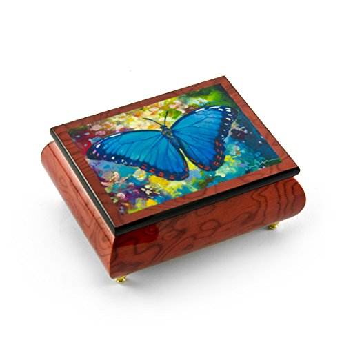 Gorgeous Handcrafted Red-Wine Butterfly Music Box by Ercolano -