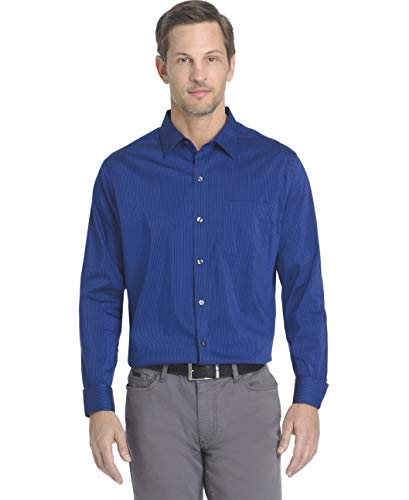 Van Heusen Men's Traveler Stretch Non Iron Long Sleeve Shirt, Mazarine Blue Stripe, Large