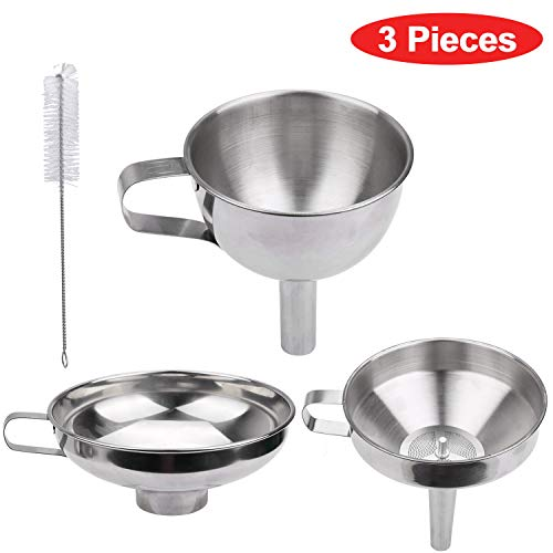 Kitchen Funnel Set - 3 Pieces Food Grade Stainless Steel Funnel + 1 Strainer + 1 Cleaning Brush - for Transferring Liquid, Powder, Juices, Spices, Olive oil, Hot liquids and Dry ingredients