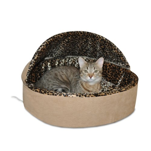 "K&H Pet Products Thermo-Kitty Heated Pet Bed Deluxe Large Tan/Leopard 20"" 4W"