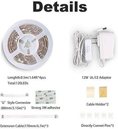 wobsion Under Counter Lights for Kitchen, Under Cabinet Lights Plug in, Under Kitchen Cabinet Lighting,Flexible LED Strip Lights for Kitchen,Pantry,Desk,Shelf,2700K Warm White,6.6 Feet DIY Tape Light 18