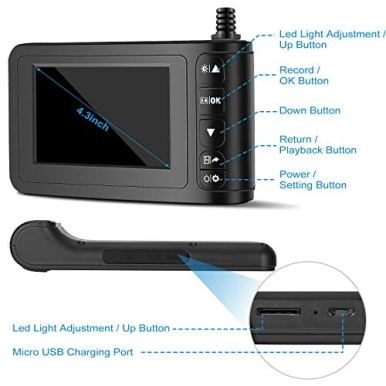 Industrial-Endoscope-with-43-inch-LCD-Color-Screen-2MP-Snake-Camera-8mm-Borescope-Camera-HD-1080P-Sewer-Camera-Waterproof-Inspection-Cameras-with-6-Adjustable-LED-Lights-5m164ft
