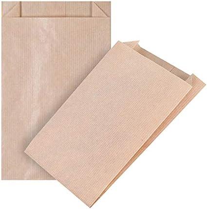 kgpack 100x Bolsas de Papel Kraft DIY 12 X 20 cm | Bolsas de Papel Kraft para niños | Calendario de adviento | Bolsa de Regalo de Fondo Plano | Bolsa de Papel de Alimentos