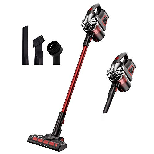 Vistefly V8 Cordless Vacuum Cleaner, 2 in 1 Stick and Hand-held Vacuum with 9KPa 160W Suction,Rechargeable Lithium Battery, LED Headlights for Home and Car Cleaning - Red