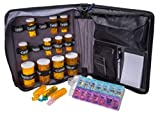 Med Manager Deluxe by Case It (Red), Insulated Medication Travel Bag w/ Strap, Portable Pill/Medicine Organizer, Holds (15) 30/60/90-Day Pill Bottles, 7-Day Pill Organizer, 6-Pocket Folder, Notepad