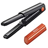 Deogra Cordless Mini Flat Iron USB Rechargeable Hair Straightener Ceramic Tourmaline Straightening Iron with 3D Floating Plates Portable for Travel Incl Heat-resistant Storage Pouch Black