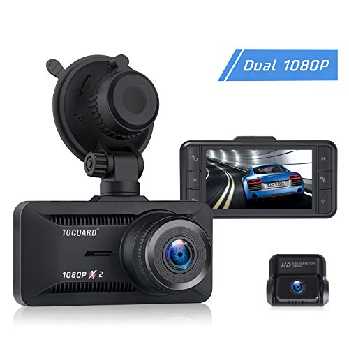 TOGUARD Both 1080P Dash Cam Front and Rear Dual Lens in Car Camera 3 Inch IPS Screen 170° Wide Angle Dash Camera for Cars Driving Recorder, Support External GPS Logger