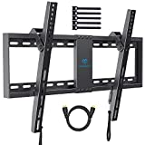 """PERLESMITH Tilt Low Profile TV Wall Mount Bracket for Most 32-70 inch LED, LCD, OLED and Plasma Flat Screen TVs - Fits 16""""- 24"""" Wood Studs, Tilting TV Mount with VESA 600 x 400mm Holds up to132lbs"""