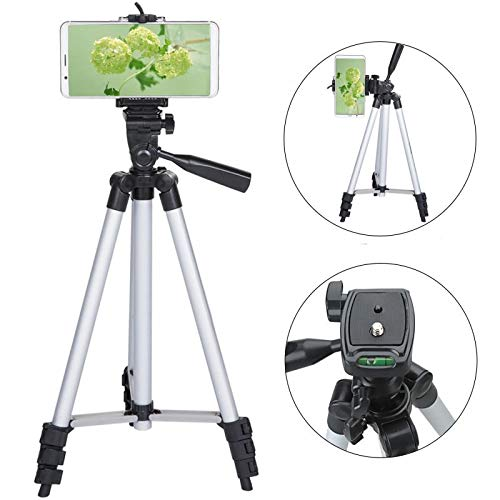 50 inch Tripod for iPhone, Aluminum Camera Phone Tripod with Universal Tripod Phone Mount, Carrying Bag Included