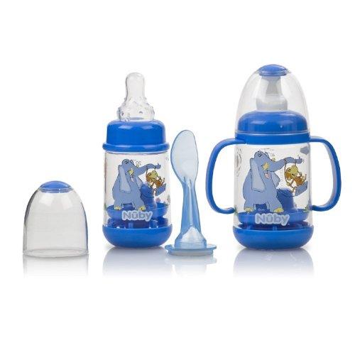 Nuby BPA FREE Infant Feeder Feeding Bottle Set, Blue