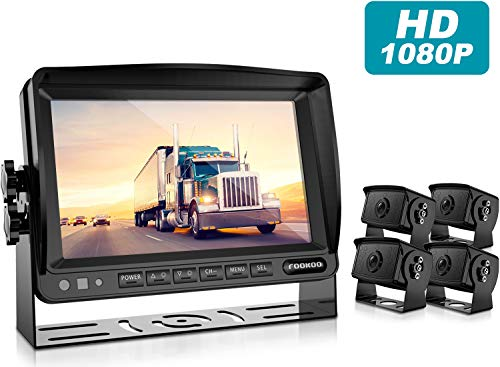 Fookoo Ⅱ HD Backup Camera Syste HD Backup Camera System Kit,1080P 7'' Split Screen Monitor+IP69 Waterproof Rear View Camera for Bus/Truck/Trailer/Box/RV/Trailer/Tractor/ 5th Wheel (FHD4)