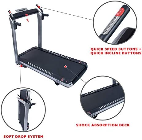 Sunny Health & Fitness ASUNA SpaceFlex Electric Running Treadmill with Auto Incline, LCD and Pulse Monitor, Speakers, Device Holder, 220 LB Max Weight, Folding and Transportation Wheels - 7750 4