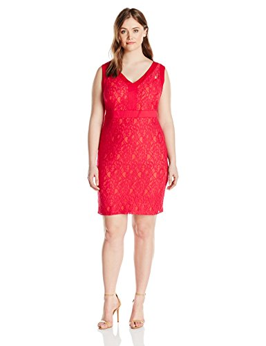 81WrREFc3SL Sleeveless lace sheath dress featuring contrast lining and V-neckline Concealed zipper at back