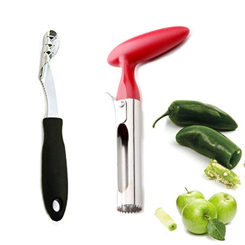 Household Jalapeno Pepper and Apple Corer Set for Remover Zucchini or Pear Fruit Vegetable Seeds,Creative Kitchen Cooking Accessories Tool