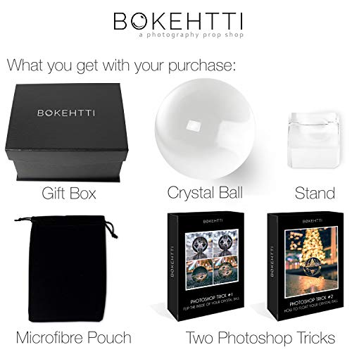 Bokehtti Lensball K9 Crystal Glass Ball (80mm) - Includes Gift Box, Stand, Microfiber Pouch and Bonus Photoshop Tutorials - Photography Prop for Smartphones or DSLR Cameras - Professional Quality