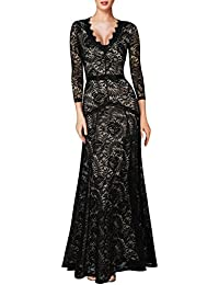 Women's Floral Lace 2/3 Sleeves Long Bridesmaid Maxi Dress