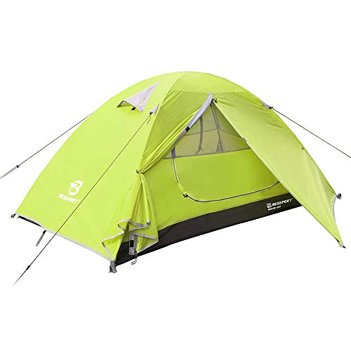 Bessport Camping Tent 2-Person Lightweight Backpacking Tent Waterproof Two Doors Easy Setup Tent for Outdoor, Hiking Mountaineering Travel (Limeade)