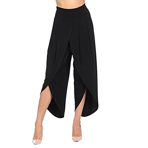 QueenMMWomen's High Waist Layered Flowy Casual Yoga Pants Solid Wide Leg Loose Pants Palazzo Pants Black