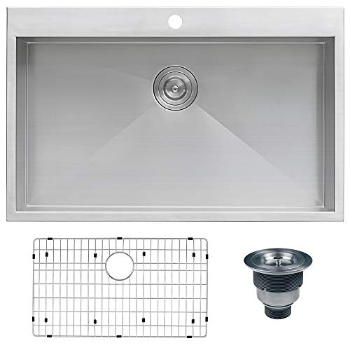 "Ruvati RVH8000 Drop-in Overmount 33"" x 22"" Kitchen Sink 16 Gauge Stainless Steel Single Bowl"