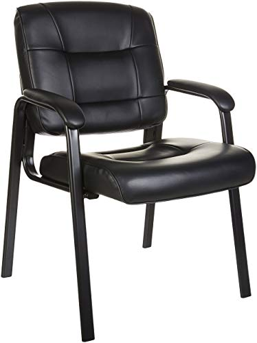 AmazonBasics Classic Leather Office Desk Guest Chair with Metal Frame – Black