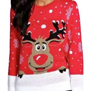 CBTLVSN Women's Casual Reindeer Pullover Round Neck Ugly Christmas Sweater