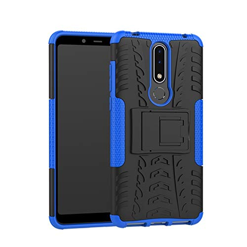 Prime Retail Nokia 3.1 Plus, Back Cover, Blue, Premium Real Hybrid Shockproof Bumper Defender Cover, Kick Stand Back Case Cover for Nokia 3.1 Plus 111
