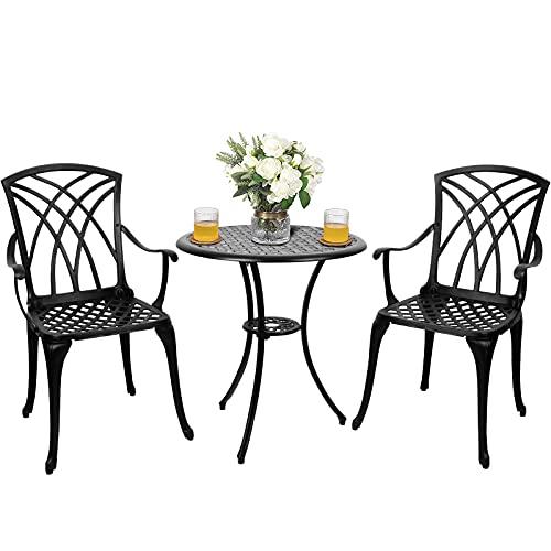Polar-Aurora-3-Piece-Aluminum-Patio-Bistro-Set-Cast-Aluminum-Bistro-Table-Set-Outdoor-Round-Dining-Table-with-Umbrella-Hole-for-Porch-Lawn-Garden-Backyard-Pool-Black