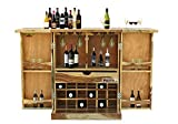 Rootwood Sheesham Wood Counter Bar Cabinet Rack with Wine Glass Storage