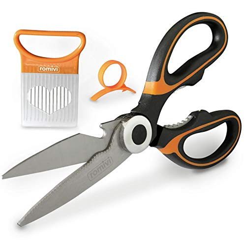 Romivi Kitchen Scissors | High Grade Stainless Steel Kitchen Shears | Multipurpose Heavy Duty Kitchen Utensil Comes with Onion Slicer and Orange Peeler
