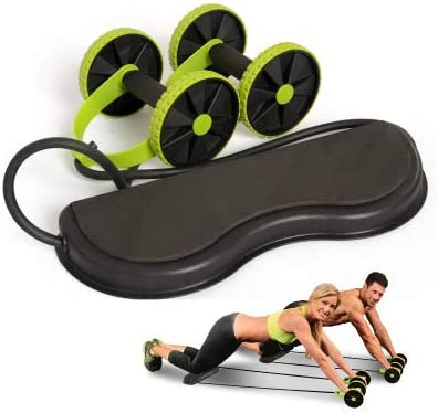 Tofreedomwind Abdominal Multifunctional Exercise Equipment Ab Wheel Double Roller with Resistance Bands/Knee mat Waist Slimming Trainer at Home Gym 5