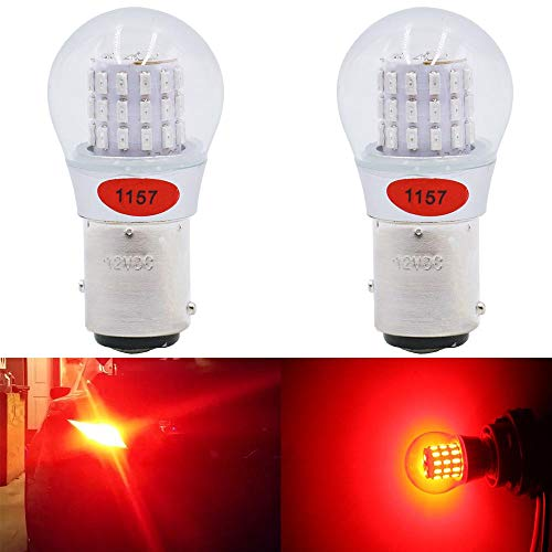 AMAZENAR 2-Pack 1157 BAY15D 1016 1034 7528 2057 2357 Extremely Bright Red LED Light 12V-DC, AK-3014 39 SMD Replacement Bulbs For Tail Brake Light Lamps