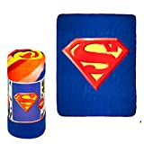 """JPI Fleece Throw Blanket - Superman Shield - Lightweight Faux Fur Fleece Blanket Large 50""""x 60"""" - Use as Couch Cover, Sofa Cover, Bed Cover, Beach Blanket, Picnic Blanket, on Beds & Sofa Bed"""